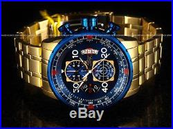 Invicta Men's 48mm Aviator Chronograph Blue Dial 18K Gold Plated SS Tacy Watch