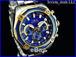 Invicta Men's 48mm Aviator Chronograph Blue Glass Fiber Dial 18K GP 2Tone Watch