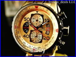 Invicta Men's 48mm Aviator Men's Japan Chrono 18K Ion Plated Gold Dial SS Watch