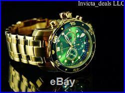 Invicta Men's 48mm PRO DIVER SCUBA Chronograph Green Dial Gold Tone 200M Watch