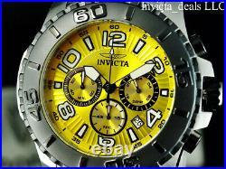 Invicta Men's 48mm PRO DIVER SCUBA Chronograph YELLOW DIAL Silver Tone SS Watch