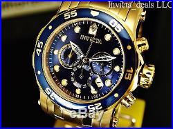 Invicta Men's 48mm PRO DIVER Scuba Chronograph 18K GP Admiral Blue Dial SS Watch