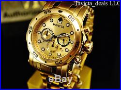 Invicta Men's 48mm PRO DIVER Scuba Chronograph 18K Gold Plated Gold Dial Watch