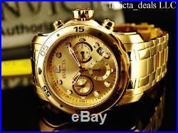 Invicta Men's 48mm PRO DIVER Scuba Chronograph Champagne Dial 18K Gold IP Watch