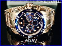 Invicta Men's 48mm Pro Diver SCUBA Chronograph BLUE DIAL Rose Tone Ltd Ed Watch