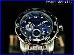 Invicta Men's 48mm Pro Diver SCUBA Chronograph Black Dial Blue Accents SS Watch