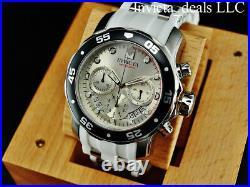Invicta Men's 48mm Pro Diver SCUBA Chronograph Silver Dial White Strap SS Watch