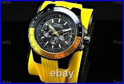 Invicta Men's 50mm AVIATOR VOYAGE Multi Function Black Dial Yellow Strap Watch