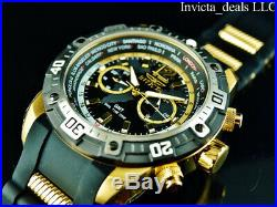Invicta Men's 50mm Aviator GMT World Dual Time Zone Black Dial 18K Gold IP Watch