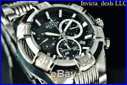 Invicta Men's 50mm BOLT SWISS Ronda Z60 Chrono Black Dial Silver Tone SS Watch