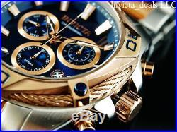 Invicta Men's 50mm BOLT SWISS Ronda Z60 Chrono Blue Dial Rose Two Tone SS Watch