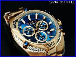 Invicta Men's 50mm BOLT SWISS Ronda Z60 Chronograph BLUE DIAL Rose Tone SS Watch