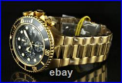 Invicta Men's 50mm Grand Diver Chronograph Black Dial 18K Gold Plated SS Watch