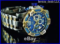 Invicta Men's 50mm Pro Diver SCUBA Chrono Blue Fiber Glass Gold Tone 2Tone Watch