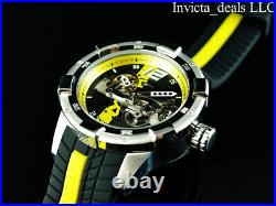 Invicta Men's 50mm S1 Rally AUTOMATIC Skeletonized Dial Black/Yellow Tone Watch