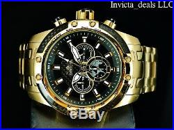 Invicta Men's 50mm SPEEDWAY SCUBA Chronograph Black Dial 18K Gold Plated Watch