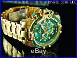 Invicta Men's 50mm SPEEDWAY SCUBA Chronograph Sapphire Green Gold Tone SS Watch