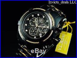 Invicta Men's 52MM Bolt ZEUS Swiss Chronograph COMBAT Black Gold Cables SS Watch