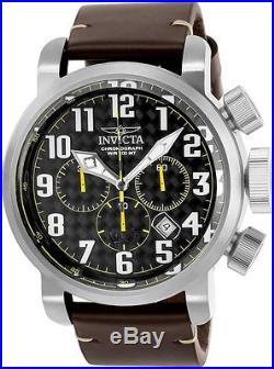 Invicta Men's 52mm Aviator Chronograph Black Carbon Fiber Dial Watch 22260