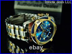 Invicta Men's 52mm BOLT SCUBA Chronograph BLUE DIAL Gold Two Tone Plated Watch