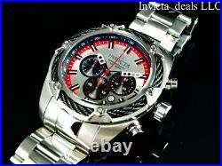 Invicta Men's 52mm BOLT THUNDER Chronograph SILVER DIAL Red/Silver Tone SS Watch