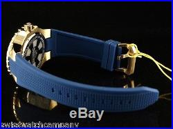 Invicta Men's 52mm Blue Aviator Compass Voyage 18K GIP SS Silicone Strap Watch