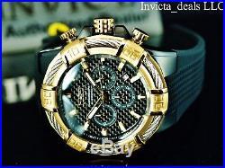 Invicta Men's 52mm Bolt Chronograph Carbon Fiber Black Dial Gold Tone SS Watch