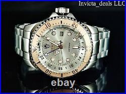 Invicta Men's 52mm Reserve HYDROMAX SKULL Swiss Ronda GMT SILVER DIAL SS Watch