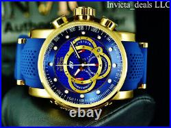Invicta Men's 52mm S1 Rally Chronograph BLUE CARBON FIBER DIAL Gold Tone Watch