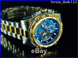 Invicta Men's 52mm SPEEDWAY VIPER Chronograph Blue Dial Gold Two Tone SS Watch