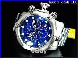 Invicta Men's 52mm Venom Swiss Chronograph Blue Dial High Polished Silver Watch