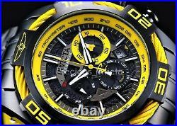 Invicta Men's 54mm RESERVE BOLT SWISS Quartz Chronograph Black/Yellow SS Watch