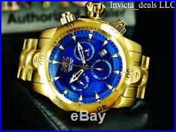 Invicta Men's 54mm VENOM Swiss Chronograph Blue Dial Gold Tone Bracelet SS Watch