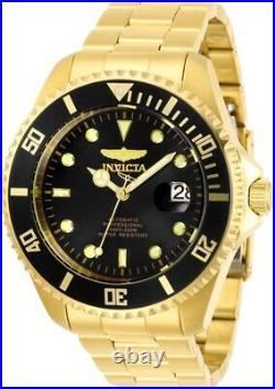 Invicta Men's Automatic Watch Pro Diver Black Dial Gold Bracelet 28948