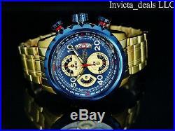 Invicta Men's Aviator Bolt Flight Chronograph Blue Dial 18K Gold Plated SS Watch