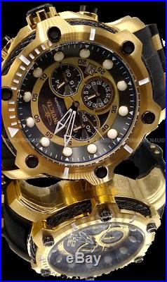 Invicta Men's Bolt Chronograph Black Dial 51mm 18K Gold Plated SS PU 100M Watch
