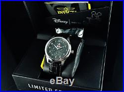 Invicta Men's Disney 43mm Mickey Mouse Limited Edition Black Dial Leather Watch