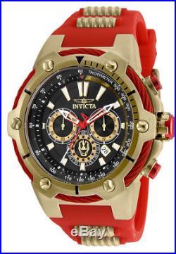 Invicta Men's Marvel Quartz Chronograph Gold Tone S. Steel Silicone Watch 25684
