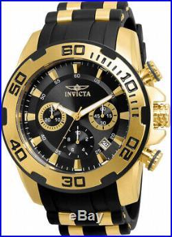 Invicta Men's Pro Diver Chrono 100m Gold Plated Case Black Silicone Watch 22312