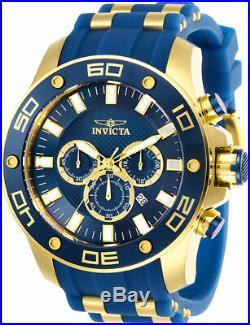 Invicta Men's Pro Diver Chrono 100m Gold-Tone S. Steel Blue Silicone Watch 26087