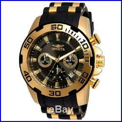 Invicta Men's Pro Diver Chrono Gold Plated S. Steel Black Silicone Watch 22344