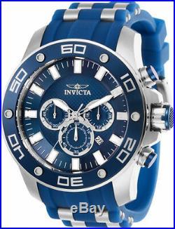 Invicta Men's Pro Diver Quartz Chrono 100m S. Steel Blue Silicone Watch 26085