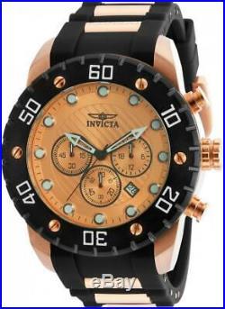 Invicta Men's Pro Diver Rose Gold Japan Chronograph Polyurethane Watch 20281