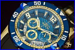 Invicta Men's Pro Diver Scuba 3.0 Blue Chronograph Dial 18K Gold Plated SS Watch