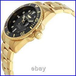 Invicta Men's Quartz Watch Pro Diver Black Dial Yellow Gold Bracelet 33257