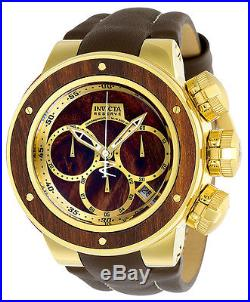 Invicta Men's Reserve Chronograph 500m Stainless Steel Brown Leather Watch 22942