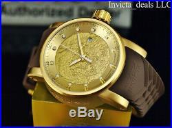 Invicta Men's S1 Yakuza Dragon 18K Gold IP Automatic NH35A SS Brown Strap Watch