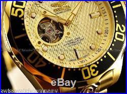 Invicta Men's SUPER OPEN HEART GRAND DIVER 18K Gold IP NH38A Automatic Watch