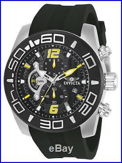 Invicta Men's Watch Pro Diver Black and Silver Dial Black Silicone Strap 22809