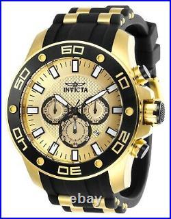 Invicta Men's Watch Pro Diver Scuba Chrono Black and Gold Tone Dial Strap 26088
